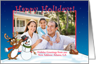 Happy Holidays from our New Address Photo Card, Reindeer and Snowman card