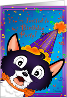 Black Cat Halloween Birthday Party Invitation card