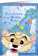 Pet BDay Party Invitation - Party Ferret card