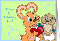 Baby's 1st Valentines Bunnies - for Boy card