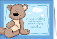 Devin - Teddy Bear Birth Announcement card