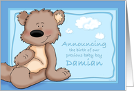 Damian - Teddy Bear Birth Announcement card