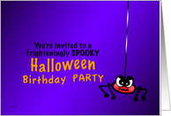 Creepy Spider Halloween Birthday Party Invitation card