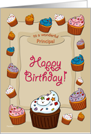Happy Birthday Cupcakes - for Principal card