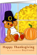 Thanksgiving Teddy - for boyfriend card