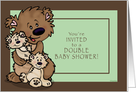 Double Baby Shower Invitation, Gender Neutral - Brown Bears card