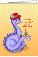 Little Miss Dino Red Hat - Birthday Card for Great Aunt card