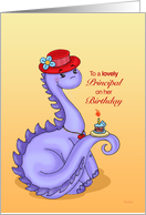 Little Miss Dino Red Hat - Birthday Card for Principal (female) card