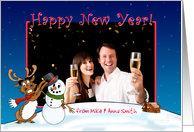 Happy New Year Photo Card, Reindeer and Snowman card