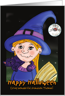 Witch Cat - Happy Halloween Grandson Thomas card