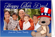 Patriotic Teddy Bear - Happy Labor Day Photo Card