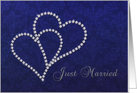 Just Married Announcement - Diamond Hearts Design card