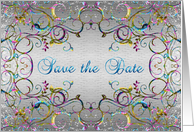 Save the date - Colorful swirl pattern card
