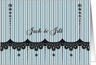 Jack and Jill - Stripes - Lace - Black Rhinestone Look card