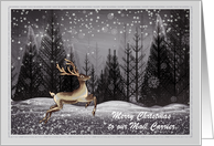 Christmas - Mail Carrier - Deer in the Night Forest card