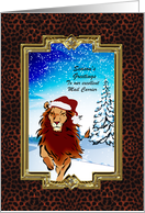 Christmas - Postal Carrier - Holiday Lion card