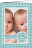 Birth Announcement - Twin Boys - Photo card