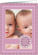 Birth Announcement - Twin Girls - Photo card