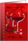 Valentine's Day Card With Heart Shaped Red Wine Glasses card