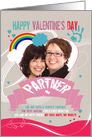 Partner, Lesbian, Modern Valentine's Photo Card