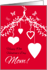 Happy 90th Valentine's Day Mom with hanging hearts and butterflies card