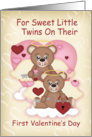 Twins First Valentine's Day With Little Angel Bears card