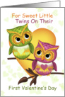 Twins First Valentine's Day With Little Owls card