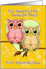 Twins First Valentine's Day With Little Patchwork Owls card