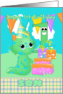 Son 1st Birthday Cute Little Monster With Gifts And Cake card