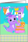 1st Birthday Cute Little Monster With Gifts And Cake card