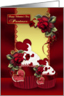 Partner Stylish Valentine's Cupcake And Rose card