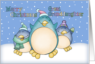 Great Granddaughter Christmas Card With Penguins card