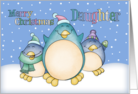 Daughter Christmas Card With Penguins card