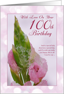 100th Birthday Card With Pink Flower And Ice Crystals card
