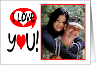 Photo Valentine's Greeting Card With Modern I Love You card