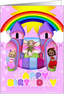Bouncy Castle Birthday Greeting Card For Girls card
