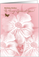Floral Special You Birthday Greeting Card With Butterflies card