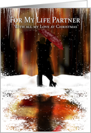 Life Partner Stylish Christmas Holiday Card With Couple In The Snow card
