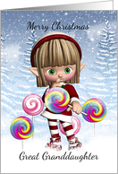 Great Granddaughter Little Elf With Candy Pops And Snow Background card