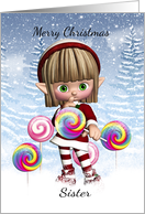 Sister Little Elf With Candy Pops And Snow Background card