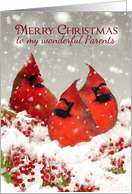 Parents, Oil Painted Red Cardinals And Winter Berries With Snow card