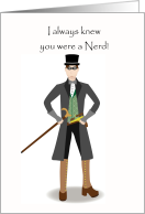 Steampunk Nerd Birthday With Illustrated Steampunker card