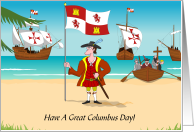Columbus Day With Boats And Christopher Columbus card
