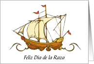 Feliz Dia de la Raza Columbus Day With Boat card