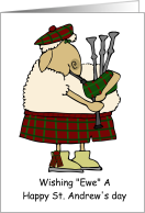 St. Andrew's Day With Sheep In A Kilt card