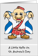 St. Andrew's Day With Scotsman And Scottish Flag card