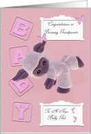 Congratulation on a new baby granddaughter in pink with lamb card