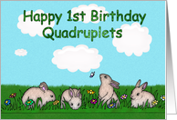 Happy 1st Birthday Quadruplets bunnies card