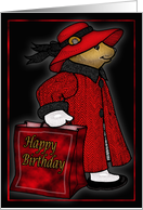 Red hat Red hat Birthday bear with shopping bag card