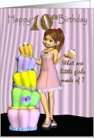 10th Birthday, Happy Birthday Card little girl with a big cake and cup-cake card